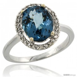 10k White Gold Diamond London Blue Topaz Ring 2.4 ct Oval Stone 10x8 mm, 1/2 in wide -Style Cw905114