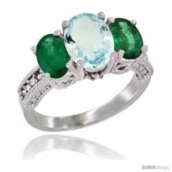 10K White Gold Ladies Natural Aquamarine Oval 3 Stone Ring with Emerald Sides Diamond Accent