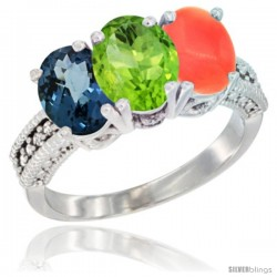 10K White Gold Natural London Blue Topaz, Peridot & Coral Ring 3-Stone Oval 7x5 mm Diamond Accent