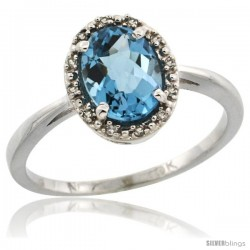 10k White Gold Diamond Halo London Blue Topaz Ring 1.2 ct Oval Stone 8x6 mm, 1/2 in wide