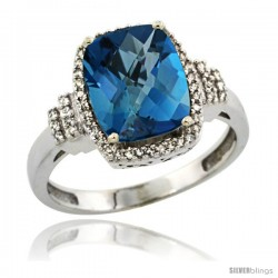 10k White Gold Diamond Halo London Blue Topaz Ring 2.4 ct Cushion Cut 9x7 mm, 1/2 in wide
