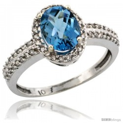 10k White Gold Diamond Halo London Blue Topaz Ring 1.2 ct Oval Stone 8x6 mm, 3/8 in wide