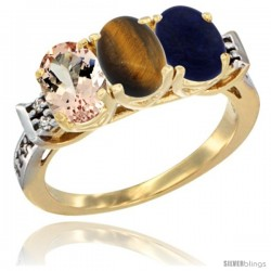 10K Yellow Gold Natural Morganite, Tiger Eye & Lapis Ring 3-Stone Oval 7x5 mm Diamond Accent