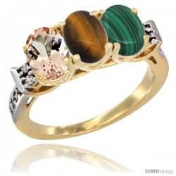 10K Yellow Gold Natural Morganite, Tiger Eye & Malachite Ring 3-Stone Oval 7x5 mm Diamond Accent