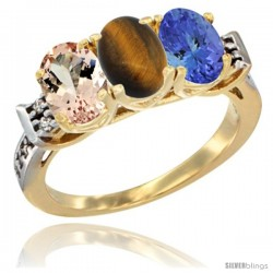 10K Yellow Gold Natural Morganite, Tiger Eye & Tanzanite Ring 3-Stone Oval 7x5 mm Diamond Accent