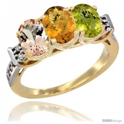 10K Yellow Gold Natural Morganite, Whisky Quartz & Lemon Quartz Ring 3-Stone Oval 7x5 mm Diamond Accent