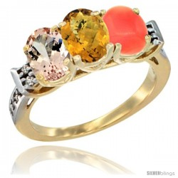 10K Yellow Gold Natural Morganite, Whisky Quartz & Coral Ring 3-Stone Oval 7x5 mm Diamond Accent