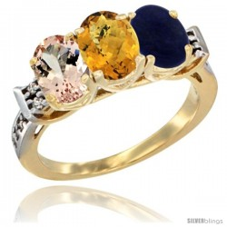 10K Yellow Gold Natural Morganite, Whisky Quartz & Lapis Ring 3-Stone Oval 7x5 mm Diamond Accent