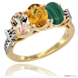 10K Yellow Gold Natural Morganite, Whisky Quartz & Malachite Ring 3-Stone Oval 7x5 mm Diamond Accent