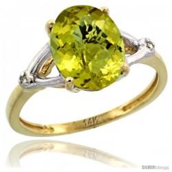 14k Yellow Gold Diamond Lemon Quartz Ring 2.4 ct Oval Stone 10x8 mm, 3/8 in wide