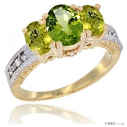 14k Yellow Gold Ladies Oval Natural Peridot 3-Stone Ring with Lemon Quartz Sides Diamond Accent