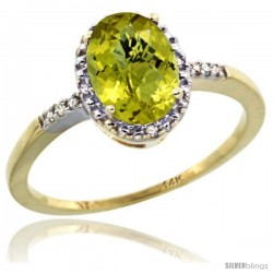14k Yellow Gold Diamond Lemon Quartz Ring 1.17 ct Oval Stone 8x6 mm, 3/8 in wide