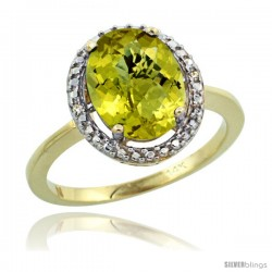 14k Yellow Gold Diamond Lemon Quartz Ring 2.4 ct Oval Stone 10x8 mm, 1/2 in wide -Style Cy427114