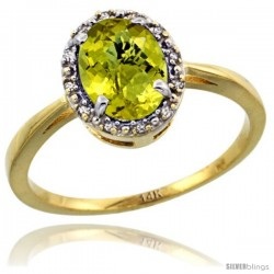 14k Yellow Gold Diamond Halo Lemon Quartz Ring 1.2 ct Oval Stone 8x6 mm, 1/2 in wide