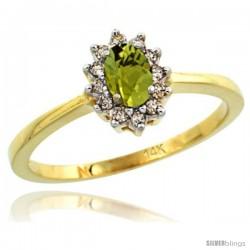 14k Yellow Gold Diamond Halo Lemon Quartz Ring 0.25 ct Oval Stone 5x3 mm, 5/16 in wide