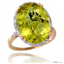 14k Yellow Gold Diamond Halo Large Lemon Quartz Ring 10.3 ct Oval Stone 18x13 mm, 3/4 in wide