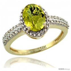 14k Yellow Gold Diamond Halo Lemon Quartz Ring 1.2 ct Oval Stone 8x6 mm, 3/8 in wide