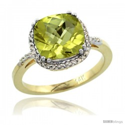 14k Yellow Gold Diamond Lemon Quartz Ring 3.05 ct Cushion Cut 9x9 mm, 1/2 in wide