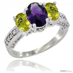 14k White Gold Ladies Oval Natural Amethyst 3-Stone Ring with Lemon Quartz Sides Diamond Accent