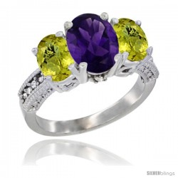 14K White Gold Ladies 3-Stone Oval Natural Amethyst Ring with Lemon Quartz Sides Diamond Accent