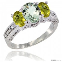 14k White Gold Ladies Oval Natural Green Amethyst 3-Stone Ring with Lemon Quartz Sides Diamond Accent
