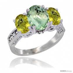 14K White Gold Ladies 3-Stone Oval Natural Green Amethyst Ring with Lemon Quartz Sides Diamond Accent