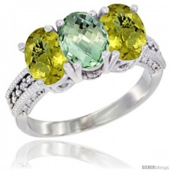 14K White Gold Natural Green Amethyst Ring with Lemon Quartz 3-Stone 7x5 mm Oval Diamond Accent