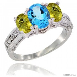 14k White Gold Ladies Oval Natural Swiss Blue Topaz 3-Stone Ring with Lemon Quartz Sides Diamond Accent
