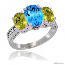 14K White Gold Ladies 3-Stone Oval Natural Swiss Blue Topaz Ring with Lemon Quartz Sides Diamond Accent