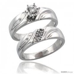 14k White Gold 2-Piece Diamond Engagement Ring Band Set w/ 0.17 Carat Brilliant Cut Diamonds, 3/16 in. (5mm) wide