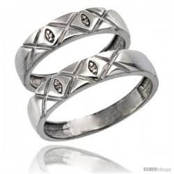 Sterling Silver 2-Pc His (5mm) & Hers (4.5mm) Diamond Wedding Ring Band Set w/ 0.026 Carat Brilliant Cut Diamonds