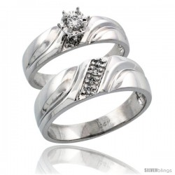 14k White Gold 2-Piece Diamond Ring Band Set w/ Rhodium Accent ( Engagement Ring & Man's Wedding Band ), w/ 0.20 Carat