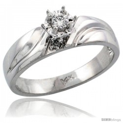 14k White Gold Diamond Engagement Ring w/ 0.11 Carat Brilliant Cut Diamonds, 3/16 in. (5mm) wide