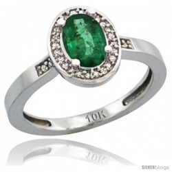 10k White Gold Diamond Emerald Ring 1 ct 7x5 Stone 1/2 in wide