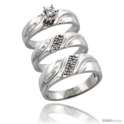 14k White Gold 3-Piece Trio His (7mm) & Hers (5mm) Diamond Wedding Ring Band Set w/ 0.26 Carat Brilliant Cut Diamonds