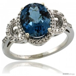10k White Gold Diamond Halo London Blue Topaz Ring 2.4 ct Oval Stone 10x8 mm, 1/2 in wide