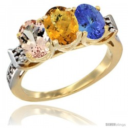10K Yellow Gold Natural Morganite, Whisky Quartz & Tanzanite Ring 3-Stone Oval 7x5 mm Diamond Accent