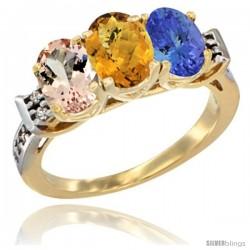 10K Yellow Gold Natural Morganite, Whisky Quartz & Tanzanite Ring 3-Stone Oval 7x5 mm Diamond Accent