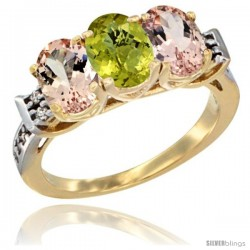 10K Yellow Gold Natural Lemon Quartz & Morganite Sides Ring 3-Stone Oval 7x5 mm Diamond Accent
