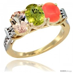 10K Yellow Gold Natural Morganite, Lemon Quartz & Coral Ring 3-Stone Oval 7x5 mm Diamond Accent