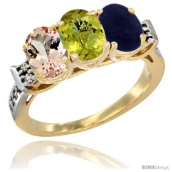 10K Yellow Gold Natural Morganite, Lemon Quartz & Lapis Ring 3-Stone Oval 7x5 mm Diamond Accent