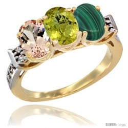 10K Yellow Gold Natural Morganite, Lemon Quartz & Malachite Ring 3-Stone Oval 7x5 mm Diamond Accent