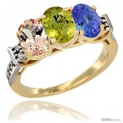 10K Yellow Gold Natural Morganite, Lemon Quartz & Tanzanite Ring 3-Stone Oval 7x5 mm Diamond Accent