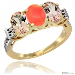 10K Yellow Gold Natural Coral & Morganite Sides Ring 3-Stone Oval 7x5 mm Diamond Accent