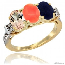 10K Yellow Gold Natural Morganite, Coral & Lapis Ring 3-Stone Oval 7x5 mm Diamond Accent