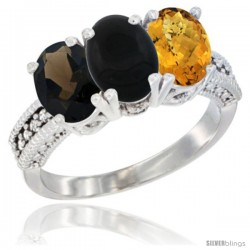 14K White Gold Natural Smoky Topaz, Black Onyx & Whisky Quartz Ring 3-Stone 7x5 mm Oval Diamond Accent