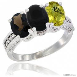 14K White Gold Natural Smoky Topaz, Black Onyx & Lemon Quartz Ring 3-Stone 7x5 mm Oval Diamond Accent