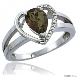 14k White Gold Ladies Natural Smoky Topaz Ring Heart-shape 5 mm Stone Diamond Accent