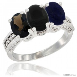 14K White Gold Natural Smoky Topaz, Black Onyx & Lapis Ring 3-Stone 7x5 mm Oval Diamond Accent