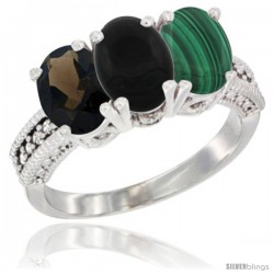 14K White Gold Natural Smoky Topaz, Black Onyx & Malachite Ring 3-Stone 7x5 mm Oval Diamond Accent